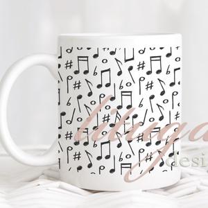 Hangjegymintás bögre - Fekete-fehér hangjegyminta fehér kerámiabögrén (MUSIC01), Otthon & lakás, Konyhafelszerelés, Bögre, csésze, Gyerek & játék, Férfiaknak, Fotó, grafika, rajz, illusztráció, Mindenmás, Hangjegymintás bögre,  fekete-fehér hangjegyminta fehér kerámiabögrén.  Kedves ajándékötlet zenetaná..., Meska