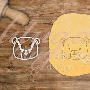 Mackó kekszkiszúró, mackófej sütikiszúró, medve mézeskalács forma  - Állatfej sütemény kiszúró, Maci kekszkiszúró forma, Otthon & Lakás, Sütikiszúró, Konyhafelszerelés, Bájos mackófejet formázó kekszkiszúró, sütikiszúró forma. Kérhető belső mintával is, vagy csak a kör..., Meska