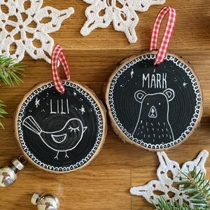 Rusztikus, névre szóló karácsonyfadísz fából, Karácsony, Karácsonyi lakásdekoráció, Karácsonyfadíszek, Mindenmás, Meska