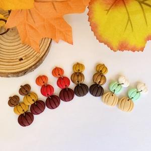 Őszi színkavalkád - tökös fülbevaló, Ékszer, Fülbevaló, Lógó fülbevaló, Ékszerkészítés, Gyurma, Meska