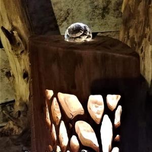 Hasáblámpa kusza ágak mintával, kristállyal a tetején (Livingwood) - Meska.hu