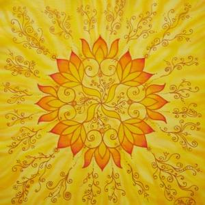 Személyre szóló mandala, Képzőművészet, Otthon & lakás, Festmény, Textil, Selyemfestés, 40x40 cm. Sok éve festek ilyen különleges, személyre szóló, egyedi képeket, mandalákat. Sokszor aján..., Meska