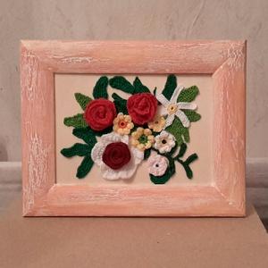 Horgolt virág kép, Akril, Festmény, Művészet, Horgolás, Mindenmás, Fa képkeretet lefestettem akril  festékkel és repesztő lakkal. Ebbe ragasztottam színes horgolt virá..., Meska
