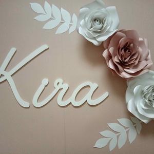 Fa dekornév és rózsa papírvirág szett, dekorbetű, dekoráció, felirat, babanév, babaszoba, óriásvirág - Meska.hu