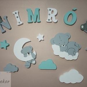 Macis dekorbetű szett menta-szürke -fehér színben,bababetű,név,felirat,dekoráció,babaszoba,gyerekszoba,hungarocell  - Meska.hu