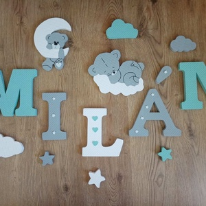 Macis dekorbetű szett menta-fehér színben,baba betű, név, felirat, 3D,dekoráció,babaszoba,gyerekszoba,hungarocell , Otthon & Lakás, Dekoráció, Betű & Név, Festett tárgyak, Mindenmás, Meska