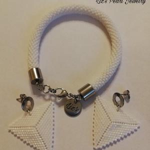 Fehér gyöngy karkötő és fülbevaló , Ékszer, Ékszerszett, Gyöngyfűzés, gyöngyhímzés, Ékszerkészítés, Meska