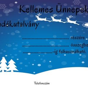 Ajándékutalvány karácsonyi, masszőr, fodrász, kozmetikus, egyedi, kupon, design, Művészet, Grafika & Illusztráció, Fotó, grafika, rajz, illusztráció, Kék-fehér karácsonyi ajándékutalvány!\n\nMasszőröknek, fodrászoknak, kozmetikusoknak, azoknak akik ele..., Meska
