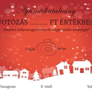 Ajándékutalvány karácsonyi, fotós, egyedi, kupon, design, Művészet, Grafika & Illusztráció, Fotó, grafika, rajz, illusztráció, Piros karácsonyi ajándékutalvány!\n\notósoknak akik elegáns stílusban jelenítik meg a vállalkozásukat...., Meska