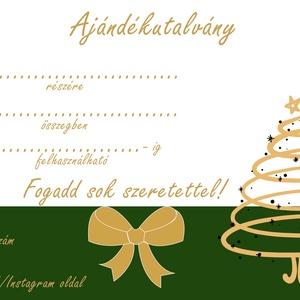 Ajándékutalvány karácsonyi, masszőr, fodrász, kozmetikus, egyedi, kupon, design, Művészet, Grafika & Illusztráció, Fotó, grafika, rajz, illusztráció, Zöld-arany karácsonyi ajándékutalvány!\n\nMasszőröknek, fodrászoknak, kozmetikusoknak, azoknak akik el..., Meska