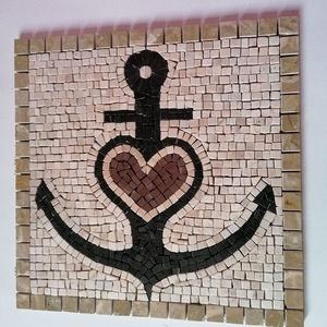Horgony mozaik kép, Otthon & Lakás, Dekoráció, Kavics & Kő, Mozaik, Súly: 4 Kg.\nMéret: 40x40x1,2 cm\nHorgony kicsit másképp. Sötét drapp kerettel 23x23 mm. Világos drapp..., Meska