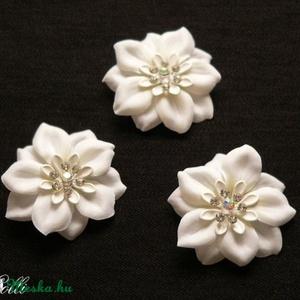 Fehér virág  menyasszonyi fejdísz szett - 3db (Lolli) - Meska.hu