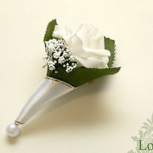 Almazöld-fehér menyasszonyi csokor és esküvői szett (Lolli) - Meska.hu