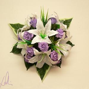 Liliomos-lila rózsás autódísz esküvőre  (Lolli) - Meska.hu