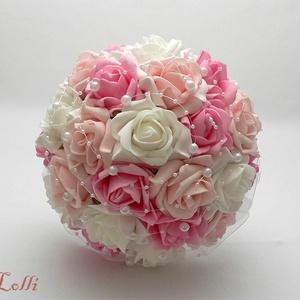Pink-Rózsaszín gyöngyös  menyasszonyi csokor (Lolli) - Meska.hu