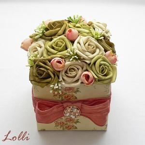 Zöld rózsás virágdoboz - virág box (Lolli) - Meska.hu