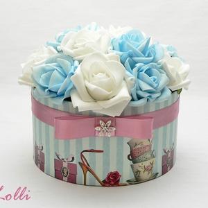 Kék - fehér rózsadoboz - virág box virágdoboz (Lolli) - Meska.hu