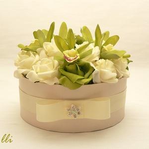 Zöld-ekrü rózsadoboz - virág box virágdoboz (Lolli) - Meska.hu