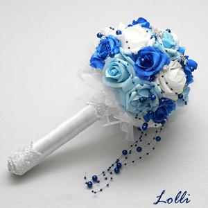 Kék menyasszonyi csokor (Lolli) - Meska.hu
