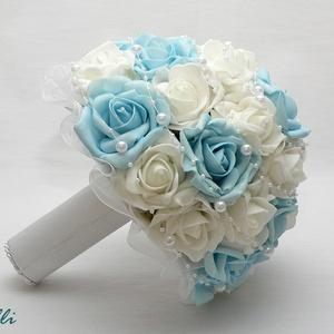 Kék-fehér gyöngyös  menyasszonyi csokor kitűzővel Rendelhető! (Lolli) - Meska.hu