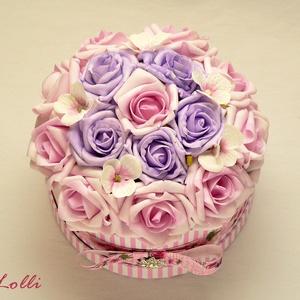 Egyedi kis rózsaszín rózsadoboz - virág box virágdoboz (Lolli) - Meska.hu