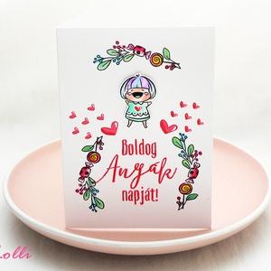 Sweety Anyák napi képeslap, képeslap Anyák napjára, Anya Képeslap - piros betűs (Lolli) - Meska.hu