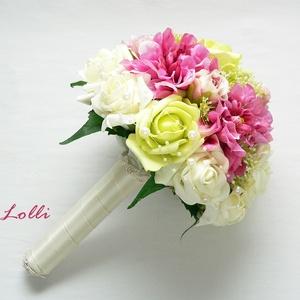Pink zöld selyemcsokor (Lolli) - Meska.hu
