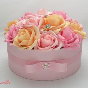 Rózsaszín rózsadoboz - virág box virágdoboz - nagy méretű (Lolli) - Meska.hu