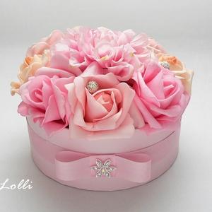 rózsaszín rózsadoboz - virág box virágdoboz - kis méretű (Lolli) - Meska.hu