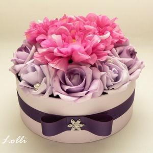 Lila - pink rózsadoboz - virág box virágdoboz - közepes méretű (Lolli) - Meska.hu