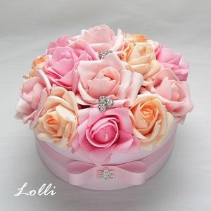 rózsaszín rózsadoboz - virág box virágdoboz - közepes méretű (Lolli) - Meska.hu