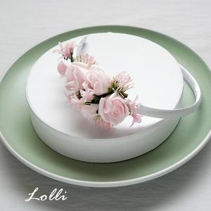 Rózsaszín virágos kislány fejdísz (Lolli) - Meska.hu