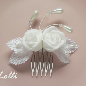 Hófehér menyasszonyi fejdísz mini rózsákkal (Lolli) - Meska.hu