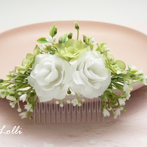 Fehér rózsás menyasszonyi fejdísz (Lolli) - Meska.hu