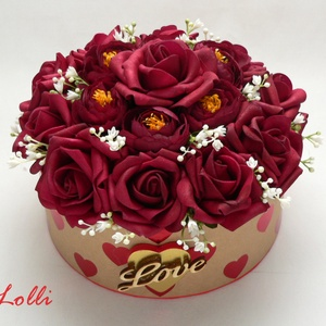 Bordó rózsás szives box virágbox virágdoboz - közepes (Lolli) - Meska.hu