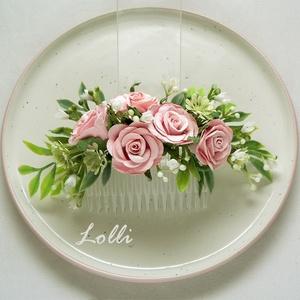 Rózsaszín rózsás fejdísz (Lolli) - Meska.hu
