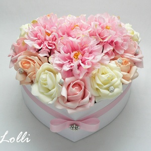 Nagy rózsaszín dáliás szív box - virágbox, virágdoboz (Lolli) - Meska.hu