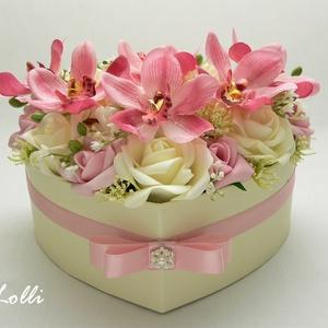 Orchideás szív box - virágbox, virágdoboz (Lolli) - Meska.hu