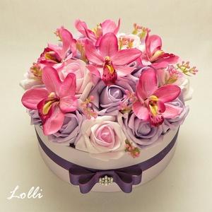 Lila - pink orchideás virágdoboz - virág box virágdoboz - közepes méretű (Lolli) - Meska.hu
