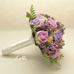 Lila rózsás menyasszonyi csokor (Lolli) - Meska.hu