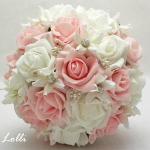 Rózsaszín menyasszonyi ékszercsokor (Lolli) - Meska.hu