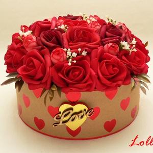 Vörös rózsás virágbox virágdoboz szerelmeseknek - nagy (Lolli) - Meska.hu