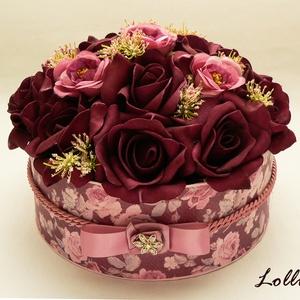 Bordó rózsás virágbox virágdoboz - nagy (Lolli) - Meska.hu