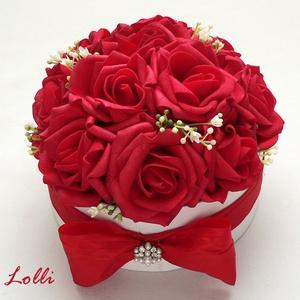 MiniBelle valentin napi vörösrózsás mini Virágbox - Rózsadoboz, virágdoboz (Lolli) - Meska.hu
