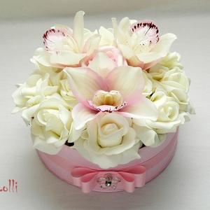 Orchideás virágbox, virágdoboz (Lolli) - Meska.hu