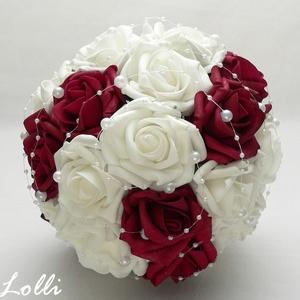 Bordó-fehér menyasszonyi csokor (Lolli) - Meska.hu