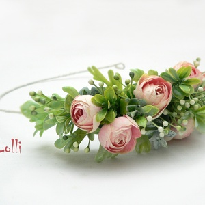 Rózsaszín bogis fél fejkoszorú, virágkoszorú, virágkorona fotózáshoz,  esküvőre (Lolli) - Meska.hu
