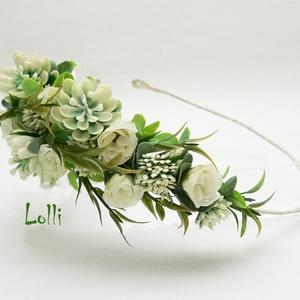 Ekrü-zöld kövirózsás fél fejkoszorú, virágkoszorú, virágkorona fotózáshoz,  esküvőre (Lolli) - Meska.hu