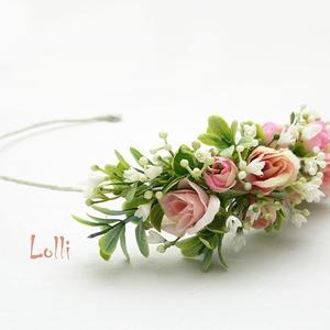Kis rózsás fél fejkoszorú, virágkoszorú, virágkorona fotózáshoz,  esküvőre (Lolli) - Meska.hu