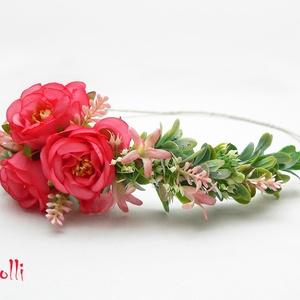 Kis rózsás féloldalas fejkoszorú, virágkoszorú, virágkorona fotózáshoz,  esküvőre (Lolli) - Meska.hu